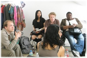 The actors wait upstaris having a chat