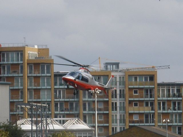 Helicopter landing at Battersea Power Station