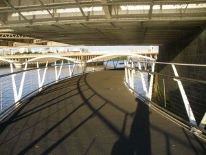 New pedestrian footbridge under Chelsea Bridge looking east