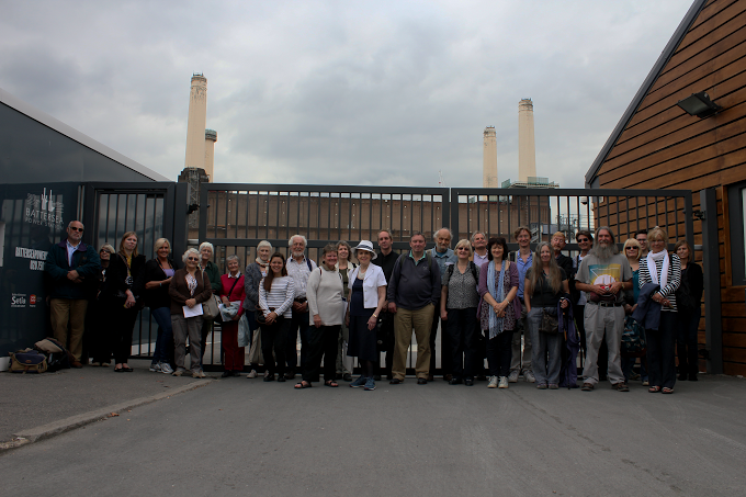 Group photo in front of the Battersea Power Station during the World Monuments Fund Watch Day 2014