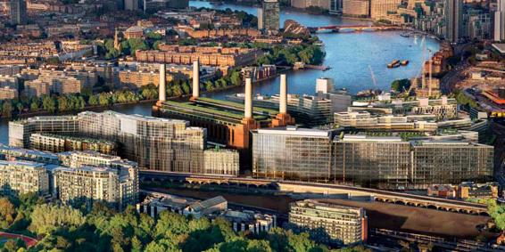 Veduta aerea del progetto come dovrà essere a conclusione lavori. In mezzo ai grattacieli si intravede la centrale elettrica.