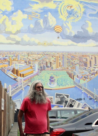 Brian and mural