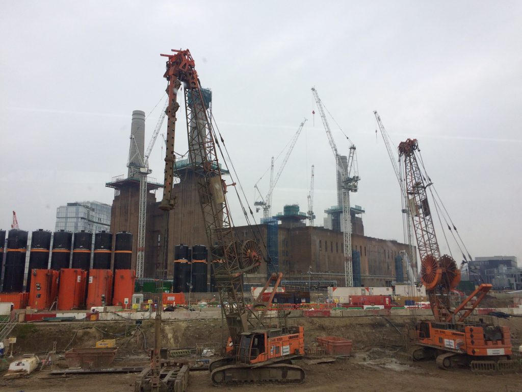 Battersea Power Station - three of the four chimneys have been rebuilt